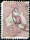 Australia - Circa 1913: A Stamp Printed In Australia Shows The Kangaroo And Map, Circa 1913