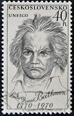 a stamp printed in Czechoslovakia shows Ludwig Van Beethoven the famous German composer