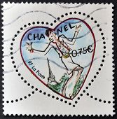 France - Circa 2003: A Stamp Printed In France Shows A Heart By Chanel, Circa 2003