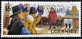 Guernsey - Circa 1999: A Stamp Printed In Guernsey Dedicated To Siege Of Castle Cornet, Circa 1999
