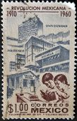 A stamp pritned in Mexico shows advances in education with the Mexican Revolution