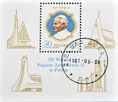 Poland - Circa 1987: A Stamp Printed In Poland Shows Pope John Paul, Circa 1987