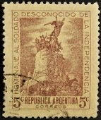 Argentina - Circa 1920: A Stamp Printed In Argentina Tribute To The Unknown Soldier Of Independence,