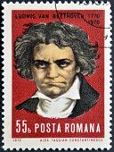 ROMANIA - CIRCA 1970: stamp printed by Romania show Ludwig van Beethoven Composer circa 1970.