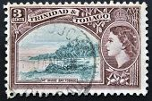 TRINIDAD AND TOBAGO - CIRCA 1953: A stamp printed in Trinidad and Tobago shows Irvine Bay circa 1953