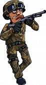 Cartoon soldier with a shotgun. Isolated