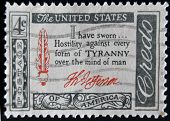 stamp shows Credo I have sworn...Hostility against every form of Tyranny over the mind of man