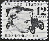 stamp printed in USA show American industrialist the founder of the Ford Motor Company Henry Ford