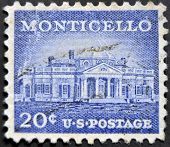 A stamp printed in USA shows image of Monticello the home of Thomas Jefferson