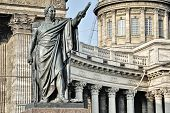 Statue And Kazan Cathedral, Saint Petersburg