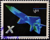 A stamp printed in USA shows computer-generated aerodynamic study of an X-plane