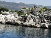 Landscape of beautiful beach along the Gulf of Kekova .