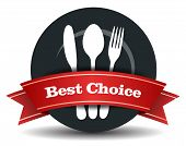 pic of restaurant  - This image is a vector file representing a restaurant plate with fork knife and spoon - JPG