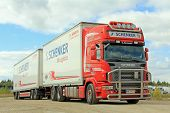 Red Scania With Db Schenker Trailer