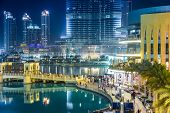 View On Burj Khalifa And Dubai Mall, Dubai, Uae, At Night