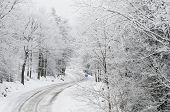 stock photo of icy road  - wintertime landscape - JPG