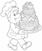 stock photo of confectioners  - Friendly smiling confectioner carrying a decorated holiday cake - JPG