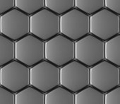 picture of hexagon  - Metal surface of steel hexagons abstract industrial seamless background - JPG