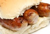 Sausages in bread roll or bap.