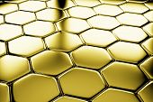 Golden Hexagons Flooring Diagonal View