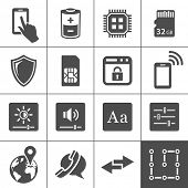 Mobile device settings icons. Tablet PC and smart phone control buttons. Simplus series. Vector illu
