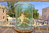 JERUSALEM - AUGUST 21: Golden Menorah two meters in height, plated with 43 kg of gold, similar to th