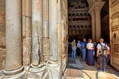 JERUSALEM- AUGUST 21: Columns at the entrance to Church of the Holy Sepulchre - main pilgrimage dest
