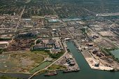 Aerial Of Industrial Harbour And Surrounding Industry