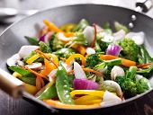 stock photo of mushroom  - vegetarian wok stir fry - JPG