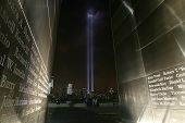 JERSEY CITY, NJ - SEPTEMBER 11: The Tribute in Light installation is seen through the Empty Sky 9/11