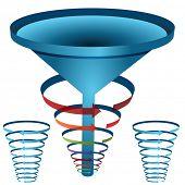 An image of a arrow funnel 3d chart.