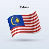 Malaysia flag waving form. Vector illustration.