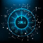 Vector horoscopes clock, New Year 2014 abstract background.