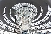 BERLIN, GERMANY - SEPTEMBER 24 : Dome Reichstag at Berlin September 24th, 2011 in Berlin Germany. Is a glass dome constructed on top of the Reichstag building, designed by architect Norman Foster.