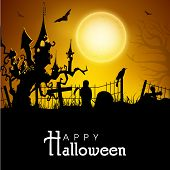 Scary Halloween night background, banner or poster for trick or treat party with haunted house situated on a dead tree. .