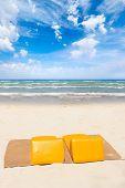 Beach sunbeds on the beach in Phi Phi Don Thailand