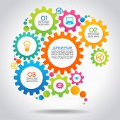 picture of gear  - Vector Illustration of infographic design template with gear and icons - JPG