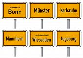 City limits signs of six major cities in Germany - Bonn, M�?�¼nster, Karlsruhe, Mannheim, Wiesbad
