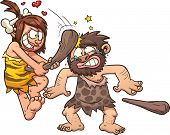 Prehistoric caveman couple. Vector clip art illustration with simple gradients. All in a single layer.