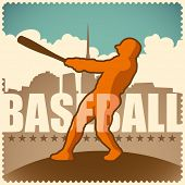 Retro baseball poster. Vector illustration.