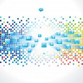 Abstract technology background with web icon.