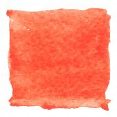 Abstract watercolor art hand paint isolated on white background. Watercolor stains. Square red watercolor banner