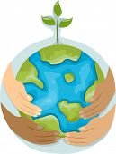 Illustration Featuring Hands with Different Colors Holding a Globe with a Plant on Top