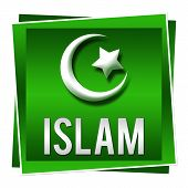 pic of sufi  - A green square image with Islam symbol on it - JPG