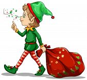 Illustration of a young elf dragging a sack of gifts on a white background