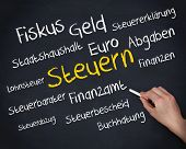 Hand holding a chalk and writing several words about tax in german in white and yellow