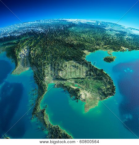Detailed Earth. Indochina Peninsula poster