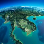 stock photo of malaysia  - Highly detailed planet Earth in the morning - JPG