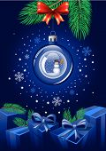 picture of christmas ornament  - Sparkling blue Christmas Ball with snowman inside - JPG