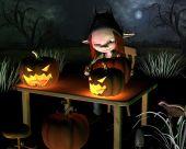 Carving Halloween Pumpkin Lanterns - with background